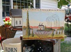 Primitive Folk Art, Primitive Crafts, Galvanized Tub, Milk Crates, Wall Murals, Painting, Vintage, Style, Wallpaper Murals
