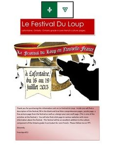 Le Festival du Loup Ontario gr 4 Curriculum French culture pages Core French, France, Culture, Some Pictures, Comprehension, Design Your Own, Ontario, Curriculum, Fill
