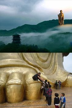 Spring Temple Buddha, Zhaocun township of Lushan County, Henan, China, 128 meters (420 feet)