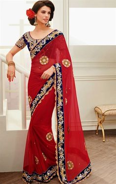Picture of Charming Cherry Red Color Designer Wedding Saree