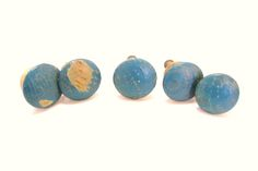 5 Vintage Wooden Knobs 1.25 Inches Chippy Blue Paint by okanaganvintage on Etsy