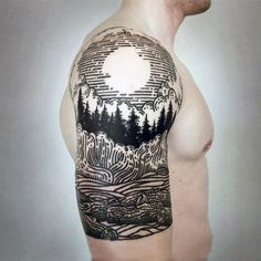 Manly Black Work Fuul Moon Over Forest Half Sleeve Tattoo On Gentleman