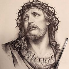 Angel Tattoo Designs, Jesus Tattoo Design, Jesus Christ Drawing, Mago Tattoo, Christ Tattoo, Biblical Art, Tattoo Project, Family Tattoos, Grey Tattoo