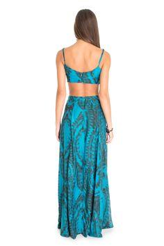 Vestido longo estampado penas pontilhadas   Dress to