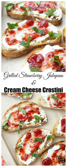 Grilled Strawberry Jalapeno and Cream Cheese Crostini  1 loaf crusty bread, ciabatta or baguette, cut into slices 4 oz. whipped cream cheese 1 jar Smucker's Fruit and Honey Strawberry Jalapeno Fruit Spread 1 tsp. fresh basil and mint, rolled and cut into a strips