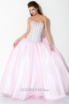 A-Line Ball Gown Sweetheart Strapless Organza Quinceanera Dress - IZIDRESSES.COM