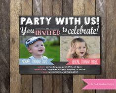 Chalkboard birthday invitation sibling invitation dual birthday we offer rush service same day turnaround for an additional 5 this includes more information more information joint birthday party filmwisefo