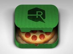 What's especially nice about this icon is how it could easily be sold and customized or changed if necessary.  I really like the coloring of the pizza but I think that it lacks any texture or depth, especially around the pepperoni.  The cardboard texturing of the pizza box looks really nice especially with the soft shadow gradient.  Another company could easily be placed where the R is and the color of the box changed.