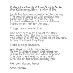 an introduction to the preface to a twenty volume suicide note Preface to a twenty volume suicide note by amiri baraka (leroi jones) by t on january 6, 2012 january 5,  next post: introduction to poetry by billy.