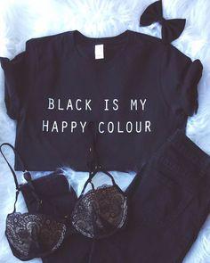 El negro es mi color feliz camiseta Tumblr Blogger por ArmiTee Ropa  Bordada 51a866d15c900
