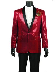 This sequin tuxedo blazer is a stunner. It features a single button, black satin shawl lapel, and shiny sequins all throughout the jacket. You'll be the hit of the party or prom wearing this one. #RedJacket #WeddingJacket #PromTux #WeddingTux #Tux #Wedding #Prom #DinnerJacket #Jacket Wedding Tux, Wedding Jacket, Mens Dinner Jacket, Prom Tux, Black Satin, Tuxedo, Shawl, Sequins, Leather Jacket