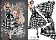 1950 s Polka Dot Fashion Reflections Decoupage on Craftsuprint designed by Sue Way - A stylish card front in shades of black