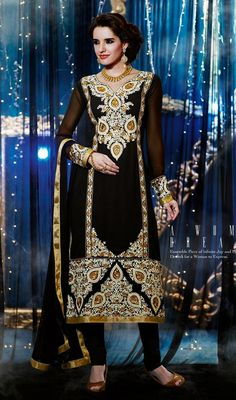 Black Faux Georgette Embroidered Churidar Kameez Price: Usa Dollar $108, British UK Pound £64, Euro80, Canada CA$117 , Indian Rs5832.