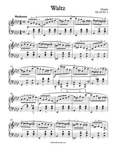Free Piano Sheet Music – Waltz Op. 64, No. 3 – Chopin
