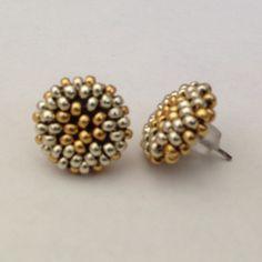 「#gold #silver #beading #beads #beadwork #earrings #postearrings #miyuki #handmade for @chateresa」
