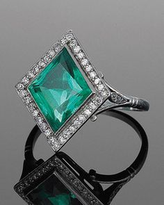 Art Deco Lozenge Shape Emerald and Diamond Ring, circa 1920's