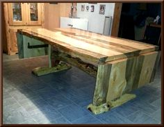 Blue Pine Drop Leaf Table - This is beautiful!!  I love the wood grains and colors.