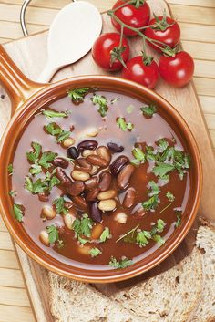 This protein-rich, healthy three-bean soup needs to make a regular appearance in your kitchen. To save cook time on the day of, roast up the veggies the day before.