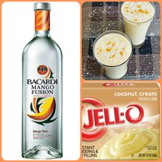 Mango Colada Pudding Shots  1 small Pkg. Coconut Cream instant pudding ¾ Cup Milk 3/4 Cup Bacardi Mango Fusion  8oz tub Cool Whip  Directions 1. Whisk together the milk, liquor, and instant pudding mix in a bowl until combined. 2. Add cool whip a little at a time with whisk. 3.Spoon the pudding mixture into shot glasses, disposable shot cups or 1 or 2 ounce cups with lids. Place in freezer for at least 2 hours