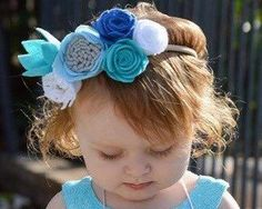 Gorgeous Paige Felt Flower Crown with white navy gray and