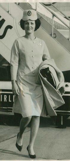 Qantas flight attendant uniform 1964