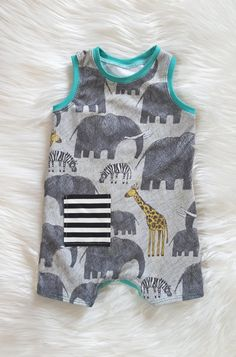 Safari Adventure Summer Shorts Romper, Baby Boy, Baby Girl, Size Newborn, 0-3 mos, 3-6 mos, 6-9 mos by brambleandbough on Etsy