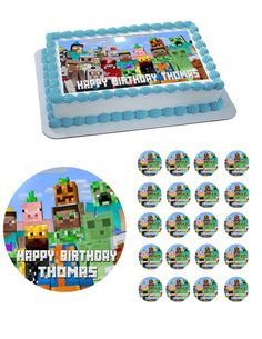 Minecraft Edible Cake Images Minecraft edible cake topper image by