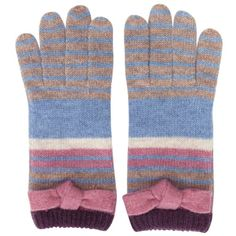 Alice Hannah AUT14 Winter Knit accessories -Multi Stripe with Tie Bow Glove