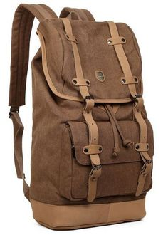 Canvas Travel Laptop School Backpack #Canvasbackpack #Canvasleatherbag #Backtoschool