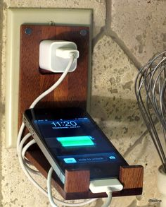 Wood iPhone Wall Socket Charger Holder by iRecline on Etsy, $39.00