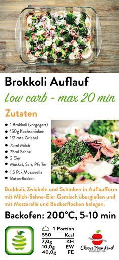 Low Carb Broccoli Casserole - Choose Your Level Low Carb Brokkoli Auflauf – Choose Your Level™ Broccoli bake with ham - Salad Recipes Healthy Lunch, Salad Recipes For Dinner, Chicken Salad Recipes, Easy Salads, Easy Healthy Recipes, Low Carb Recipes, Easy Meals, Dinner Salads, Smoothie Recipes