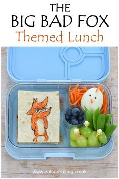 How to make a fun bento box lunch themed on The Big Bad Fox and Other Tales - movie themed fun food idea for kids Bento Box Lunch For Kids, Best Bento Box, Back To School Lunch Ideas, Food Art For Kids, Cooking With Kids, Easy Meals For Kids, Kids Meals, Easy Packed Lunch, Food Themes