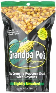 Grandpa Po's Originals, Slightly Unsalted Crunchy Organic Popcorn Snack with Soybeans, 5 Ounce  Bags (Pack of 12) - http://goodvibeorganics.com/grandpa-pos-originals-slightly-unsalted-crunchy-organic-popcorn-snack-with-soybeans-5-ounce-bags-pack-of-12/