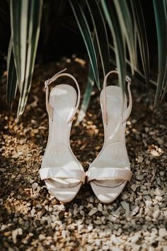 Classic wedding shoes for bride - open-toe, cream heels for bride  {Cecilia Proskauer Photography]