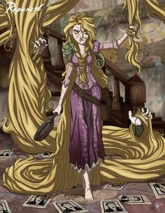 Rapunzel - Tangled | 19 Delightfully Macabre Disney Heroines reaction after what just happened and is ready for more