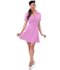 SALE! Pink Gingham Tuesday Dress - Unique Vintage - Prom dresses, retro dresses, retro swimsuits. Sz L