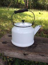 Vintage Enamelware Teapot Kettle White with Black Trim Wood Handle Deco Lid