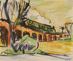 Max Pechstein (German, 1881-1955), Zug auf Viadukt, undated. Pastel and watercolor on paper.