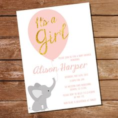 Elephant Invitation for a Girl's Baby Shower - Vintage Pink and Gold - Instant… Baby Shower Niño, Baby Shower Vintage, Baby Shower Invites For Girl, Girl Shower, Baby Shower Themes, Shower Ideas, Invitaciones Baby Shower Niña, Imprimibles Baby Shower, Baby Shower Invitation Templates