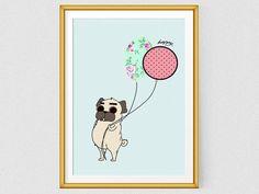 Pug art, Printable wall art, Pug print, modern art, kids wall art, Pug Art Print, Home Decor, Pug Gift, Pug Illustration