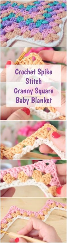 Follow this step by step tutorial to learn how to crochet spike stitch granny square baby blanket + Free, fast and simple Video guide for beginners! | Free Crochet Tutorials For Beginners | Crochet Stitches For Beginners | Free Crochet Videos | Free Crochet Patterns | Beginner | Crochet Blankets For Beginners | Crochet Baby Blanket | Crochet For Beginners | Patterns | Crochet Stitches | DIY Crochet | #crochetlove #crocheting #crocheted #crochetblanket #crochetpattern #crochet