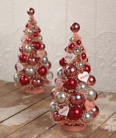 Valentine's Day Bottle Brush Tree * DIY Vintage Glitter House * Putz Village Inspiration * Mercury Glass Fab!