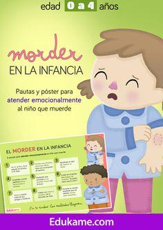 Mini guía educativa con pequeños tips y consejos para atender emocionalmente la conducta del niño que muerde. Incluye además un póster recordatorio, a modo de resumen. http://edukame.com/node/22906