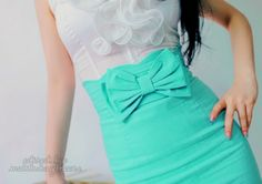 turquoise bow skirt