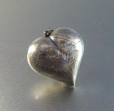 Vintage Etched Sterling Puffy Heart Pendant by LynnHislopJewels