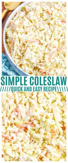 Try our Easy Coleslaw Recipe! Don't want shred all the cabbage and carrots for coleslaw? Buy already shredded coleslaw mix and make our coleslaw dressing recipe to pour right over top. Learn how to make coleslaw with our easy recipe and video! How To Make Coleslaw, Coleslaw Recipe Easy, Coleslaw Mix, Recipe For Coleslaw Dressing, Creamy Coleslaw, Coleslaw Recipe From Scratch, Simple Slaw Recipe, Avacado Dressing, Baking Center