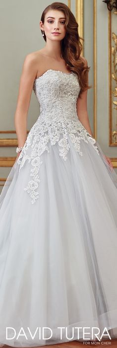 David Tutera for Mon Cheri Spring 2017 Collection - Style No. 117270 Sonia - ice blue and ivory strapless lace and tulle wedding dress