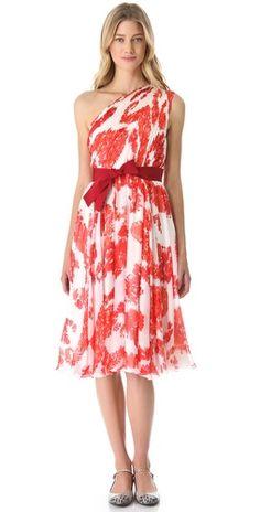 Giambattista Valli One Shoulder Floral Dress