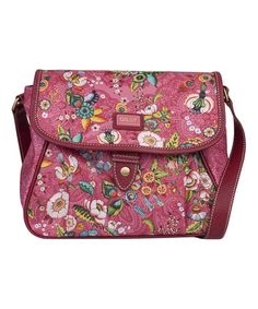 Another great find on #zulily! Pink French Flowers Medium-Flap Shoulder Bag by Oilily #zulilyfinds