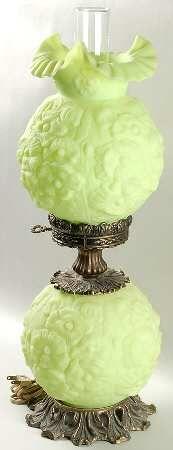 green Fenton Lamp   Poppy-Lime Green Satin